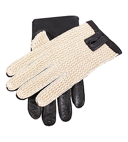 DENTS Lancaster crochet and leather driving gloves (Black