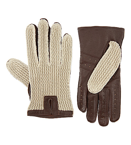 DENTS Lancaster crochet and leather driving gloves (Eng+tan