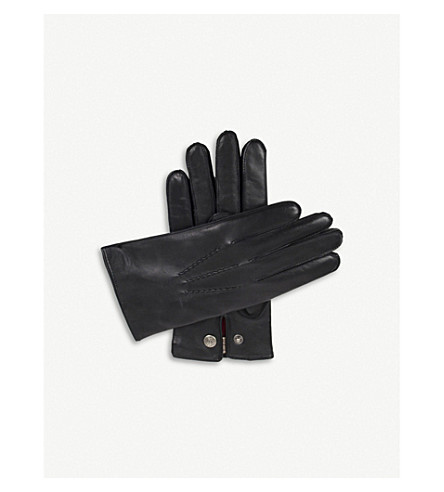 DENTS Burford cashmere-lined leather gloves (Black