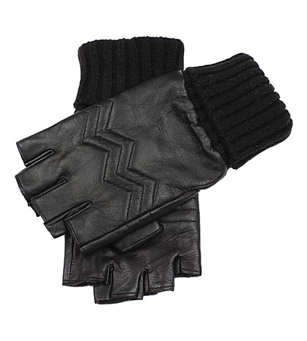 DENTS Fingerless leather gloves (Black