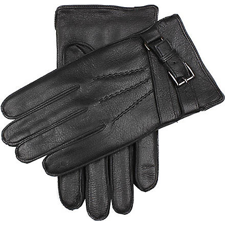 DENTS Deerprint leather gloves (Black