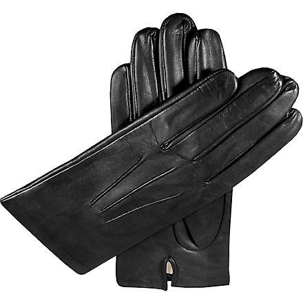 DENTS Hand-sewn silk-lined leather gloves (Black