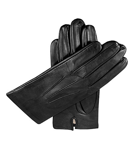 DENTS Silk-lined leather gloves (Black