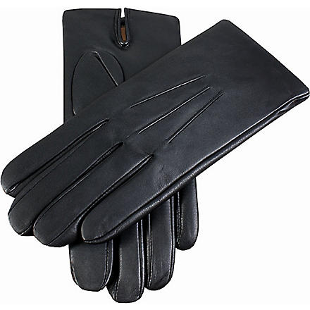DENTS Leather cashmere-lined glove (Black