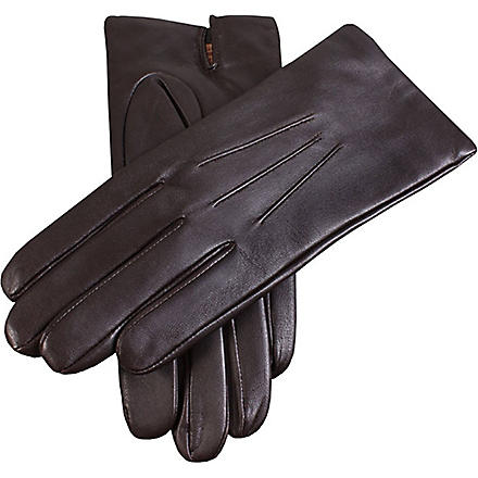 DENTS Leather cashmere-lined gloves (Brown
