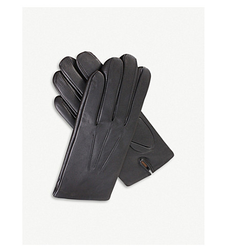 DENTS Cashmere-lined leather gloves (Black