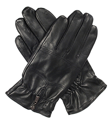 DENTS Bilbury fleece-lined leather biker gloves (Black