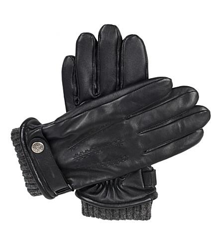 DENTS 亨利触摸屏皮革手套 (黑色