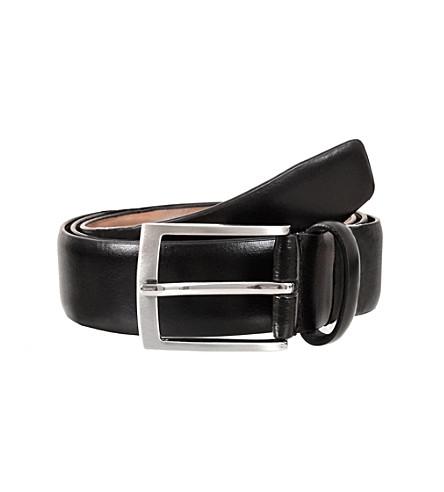 DENTS Plain leather belt (Black