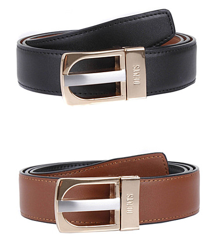 DENTS Reversible leather belt (Black/tan