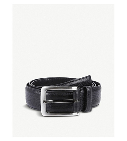 DENTS Textured leather belt (Black