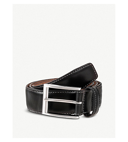 DENTS Contrast topstitch belt (Black