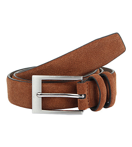 DENTS Men's suede belt (Brown