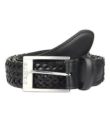 DENTS Plaited leather belt (Black