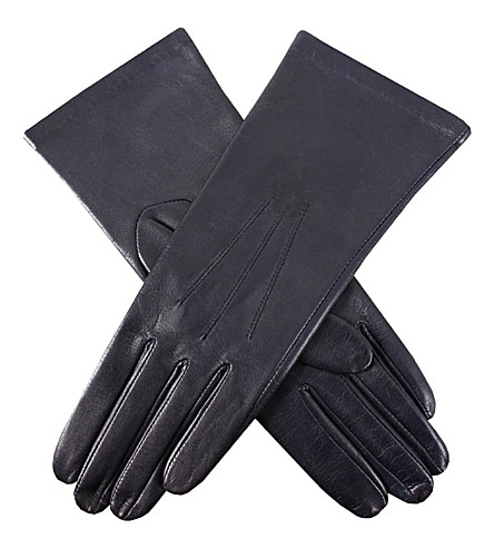 DENTS English cashmere-lined leather gloves (Navy