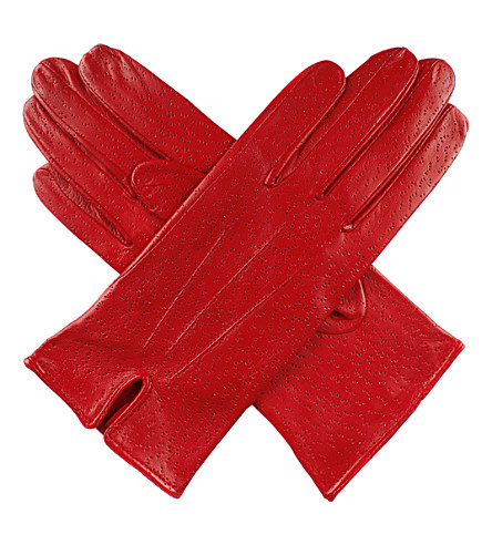DENTS Peccary-effect leather gloves (Berry