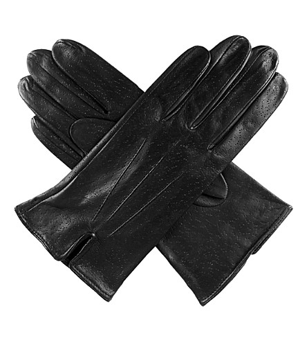 DENTS Peccary-effect leather gloves (Black