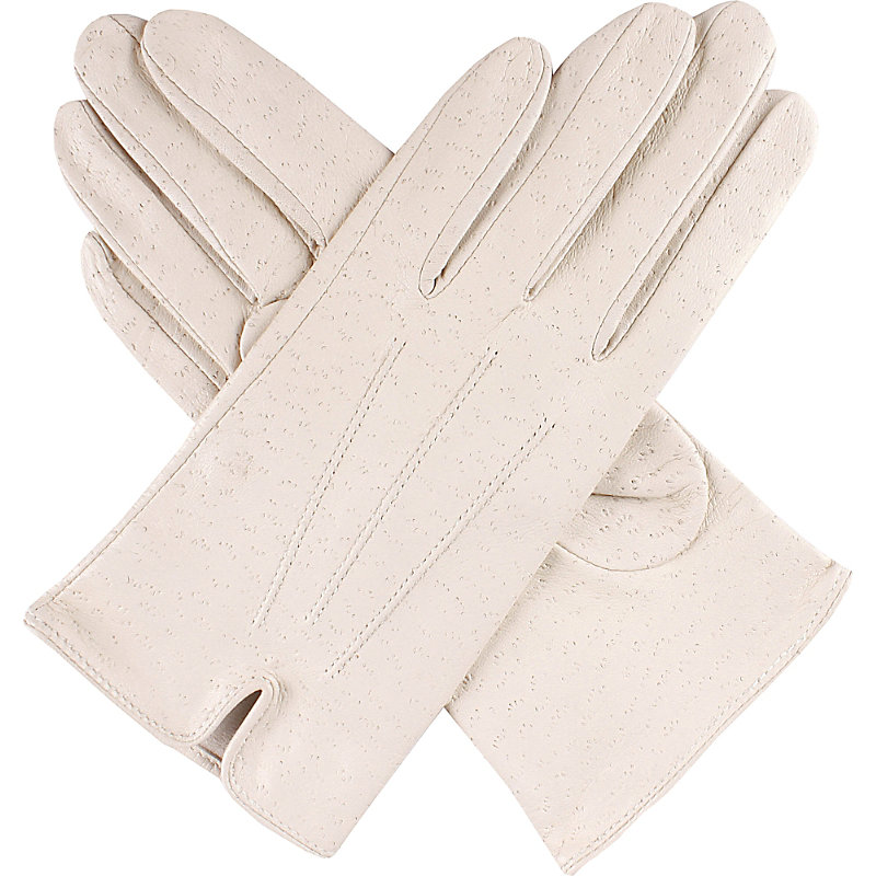 PECCARY-EFFECT LEATHER GLOVES