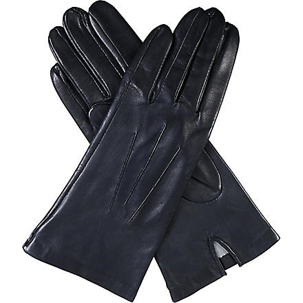 DENTS Classic silk-lined leather gloves (Navy