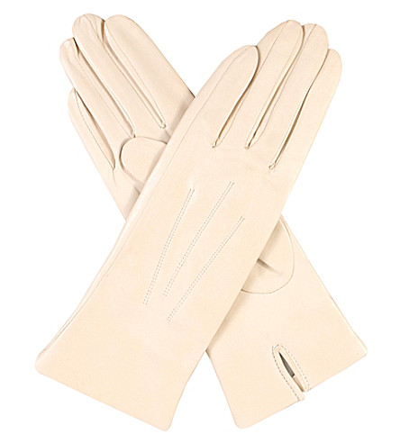 DENTS Classic silk-lined leather gloves (Parchment