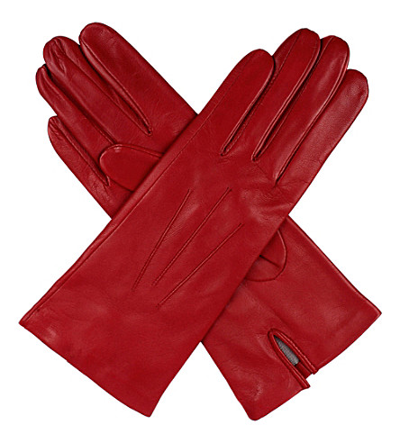 DENTS Classic silk-lined leather gloves (Berry