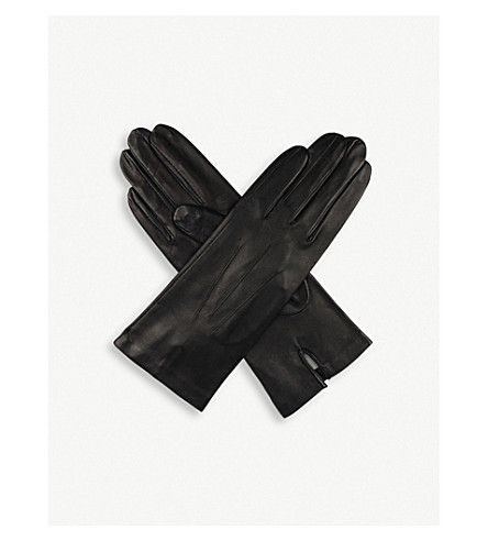DENTS Classic silk-lined leather gloves (Black