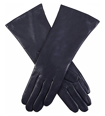 DENTS Cashmere-lined leather gloves (Navy