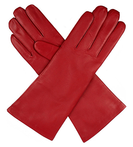 DENTS Helene cashmere-lined leather gloves (Berry