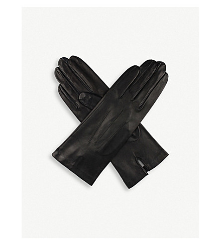 DENTS Helene cashmere-lined leather gloves (Black