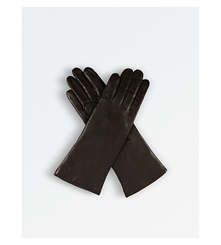 DENTS Leather cashmere-lined gloves (Mocca
