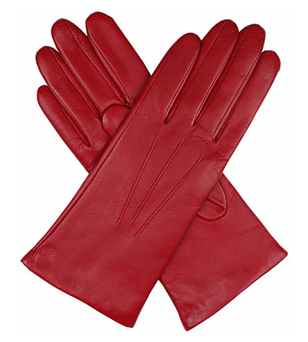 DENTS Cashmere-lined leather gloves (Berry