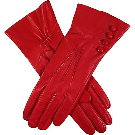 DENTS Buttoned leather gloves (Berry