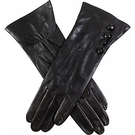 DENTS Buttoned leather gloves (Black