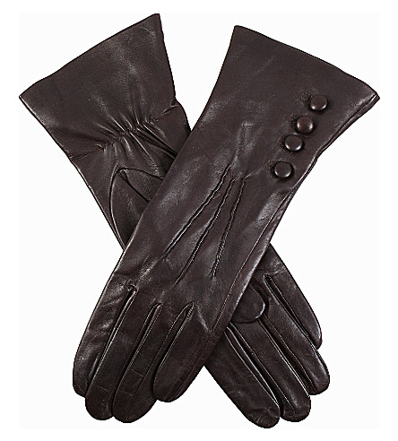 DENTS Buttoned leather gloves (Mocca