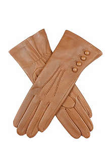 DENTS Buttoned silk-lined leather gloves