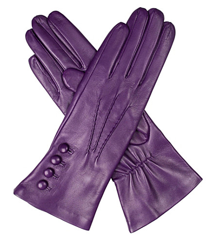 DENTS Rose silk-lined leather gloves (Amethyst