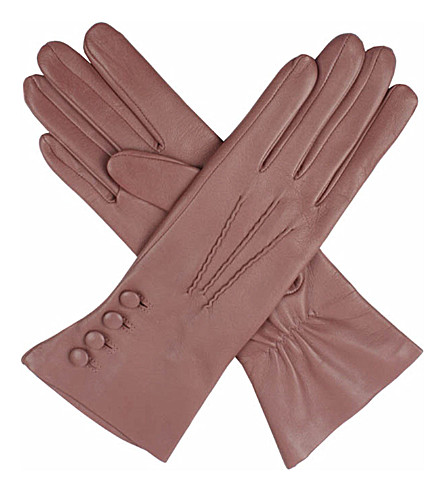 DENTS Silk-lined leather gloves (Antique+rose