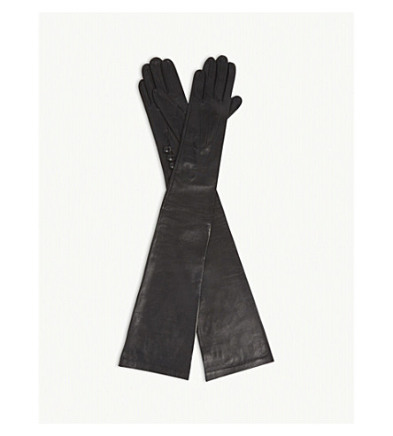 DENTS Long-length leather musketeer gloves (Black