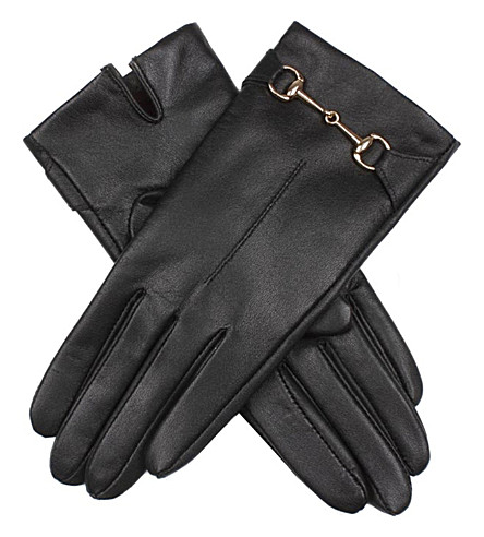 DENTS Touchscreen technology leather finger gloves (Black