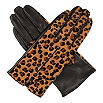 DENTS Leopard-patterned, hairsheep and ponyskin gloves