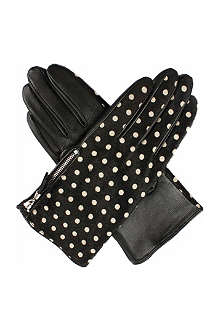 DENTS Leather ponyskin polka dot gloves