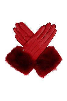 DENTS Faux fur cuff leather gloves