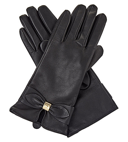 DENTS Bow detail leather gloves