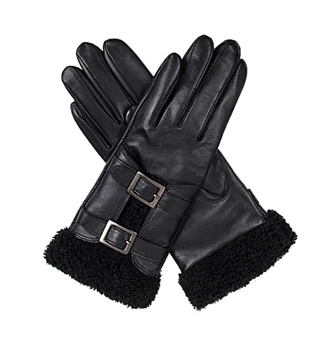 DENTS Leah faux-shearling and leather gloves (Black