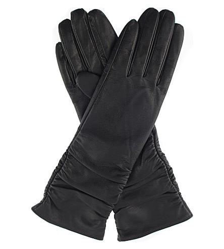 DENTS Ruched leather gloves (Black