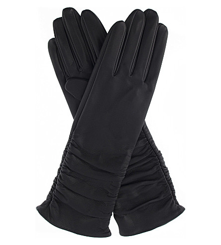 DENTS Ruched leather gloves (Navy