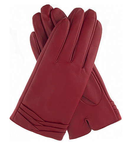 DENTS Layered leather gloves (Berry