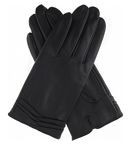 DENTS Layered leather gloves (Black