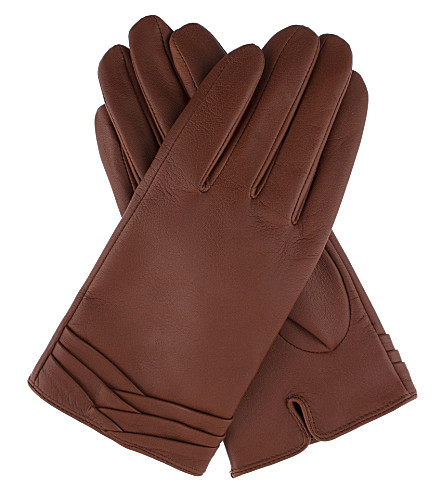 DENTS Layered leather gloves (Cognac