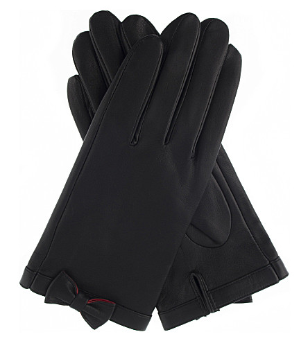 DENTS Bow-detail leather gloves (Black/berry